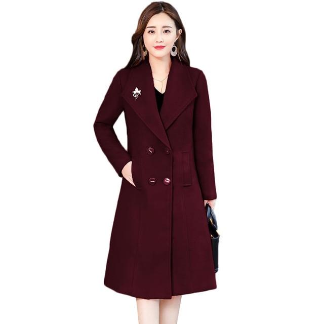053d3745106 Women Woolen Coat Winter Jacket 2018 New Fashion Solid Double-breasted Long Wool  Outerwear Plus Size 4XL Female Basic Coat AA414