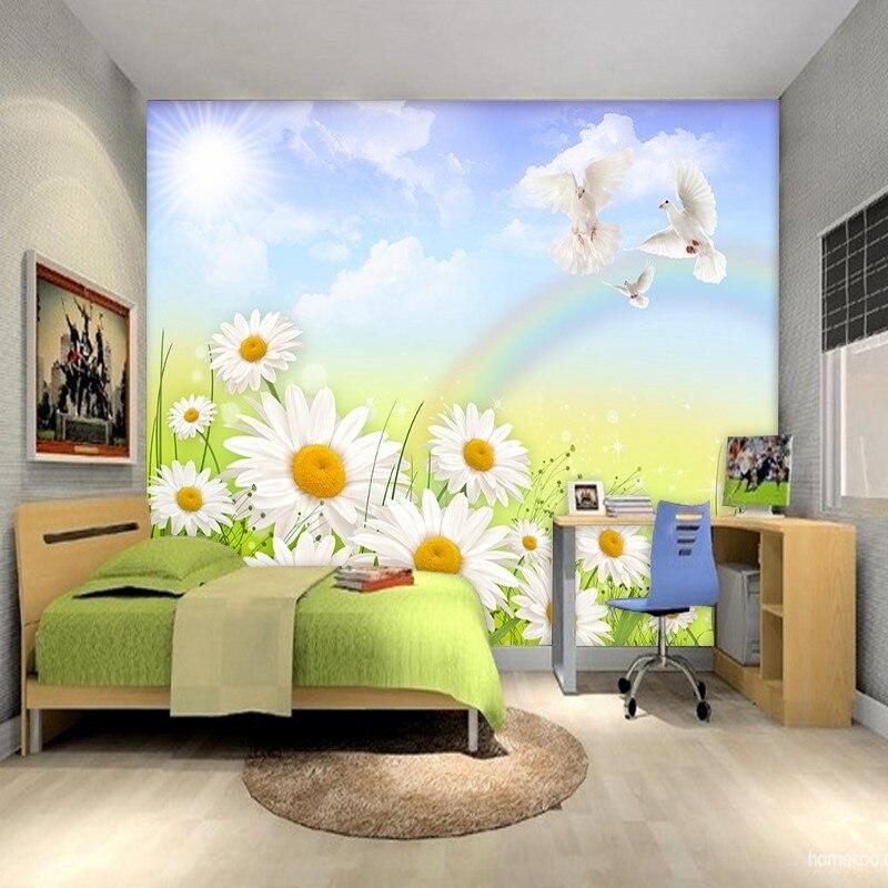 Custom 3d wallpaper  Natural landscape blue sky white clouds flower Children's room decoration wallpaper mural недорго, оригинальная цена