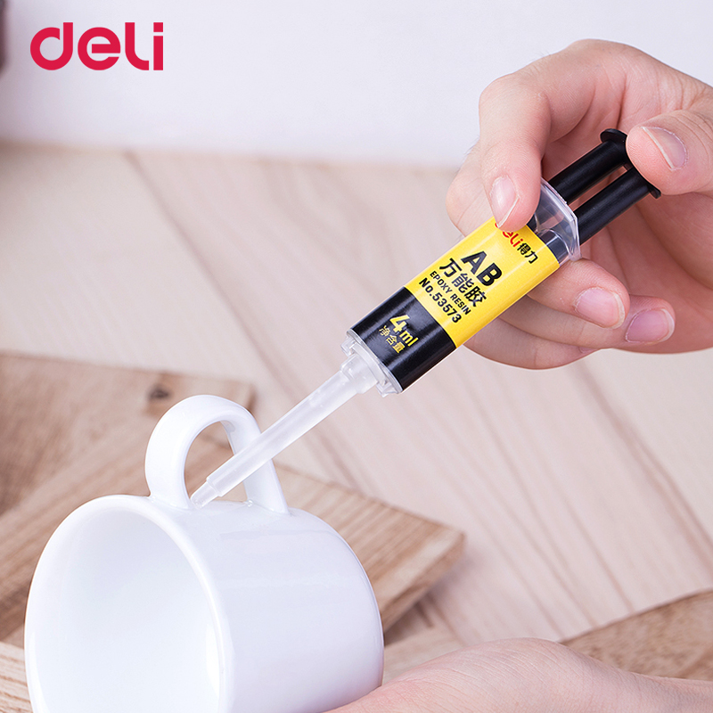 Купить с кэшбэком Deli 4ml quality 2 minutes curing super liquid AB glue for office home supply glass metal rubber waterproof strong adhesive glue