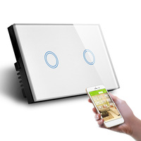 US Standard Wall Switch Touch Control Two Gang WiFi Control by APP in Phone L and N Switch with Power Monitor