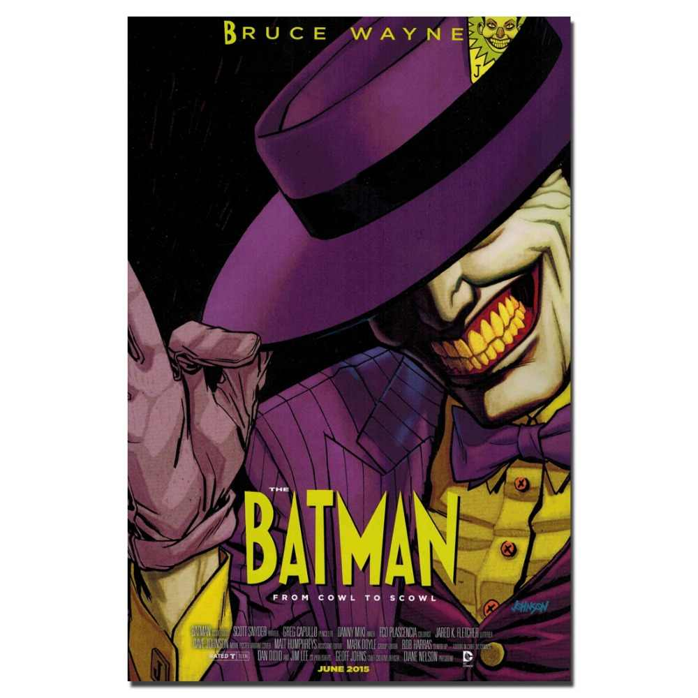 Batman 'cowl to scowl' การ์ตูนโปสเตอร์และพิมพ์ Joker Wall Art ภาพวาดภาพวาดผ้าใบสำหรับห้องนั่งเล่น decor