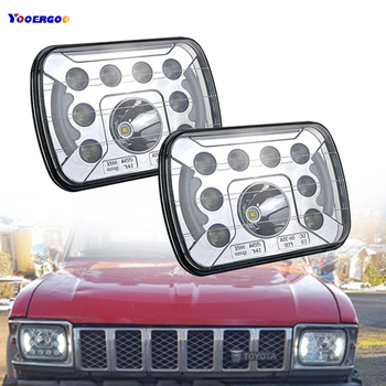 2pcs Square 5x7 6x7Inch LED Truck Headlights with DRL&Hi/Lo Beam Headlamps Replacement for Jeep Cherokee Xj Work Lighting