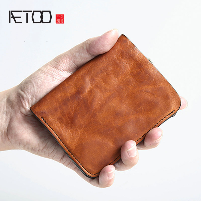 AETOO Original handmade retro men s short leather wallet men s vertical wallet casual men s