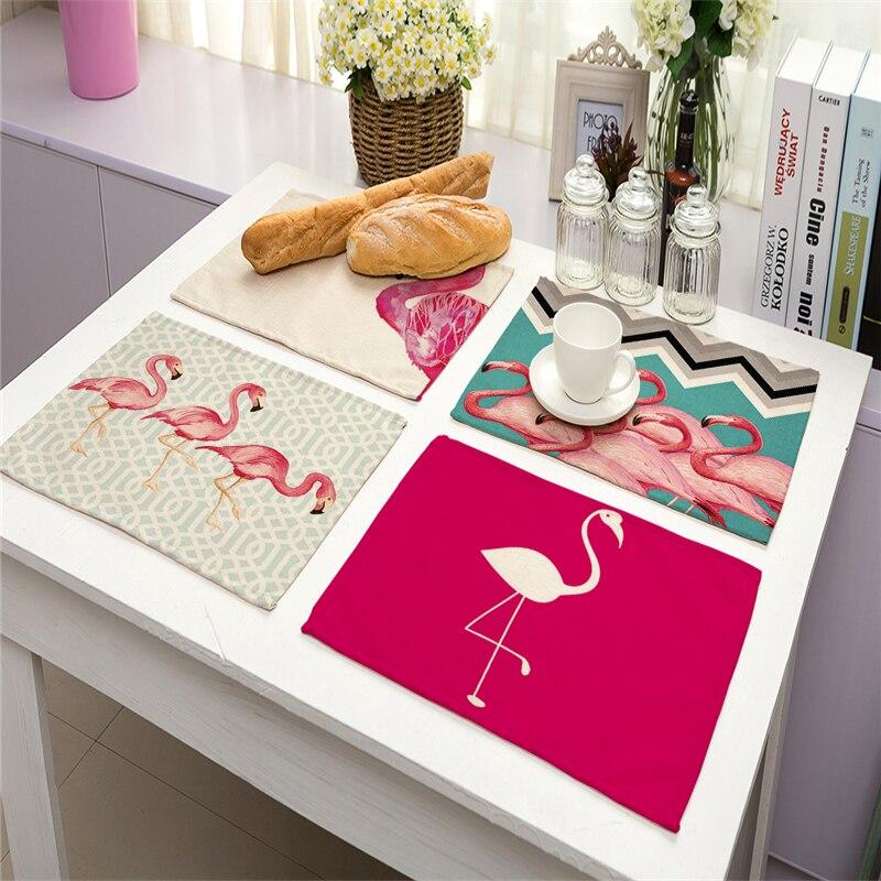 Gastvrij 42 Cm * 32 Cm Enkelzijdige Flamingo Gedrukt Linnen Servetten Matten Tafelkleed Keuken Thee Handdoeken Bruiloft Kerst Woondecoratie