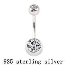 Кольцо для пупка из настоящего серебра с цирконием ювелирное