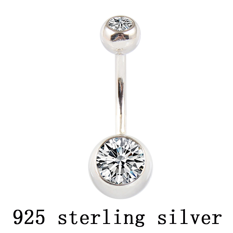 Real 925 sterling silver belly button ring clear double zircon body jewelry ball navel bar piercing jewelry free shipping 60 pcs lot sexy rhinestone ball green leaf medical stainless steel piercing belly button rings body piercing navel jewelry