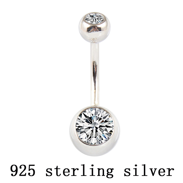 Us 9 83 15 Off Real 925 Sterling Silver Belly Button Ring Clear Double Zircon Body Jewelry Ball Navel Bar Piercing Jewelry Free Shipping In Body