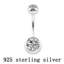 Anillo de botón de vientre de Plata de Ley 925 auténtica, piedras de circonita dobles transparentes, joyería corporal, bola para ombligo, piercing de barra de joyería, envío gratis