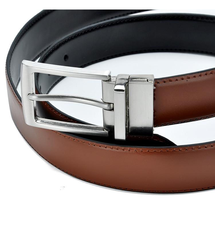Men Fashion Formal Genuine Leather Revolvable Buckle Belt