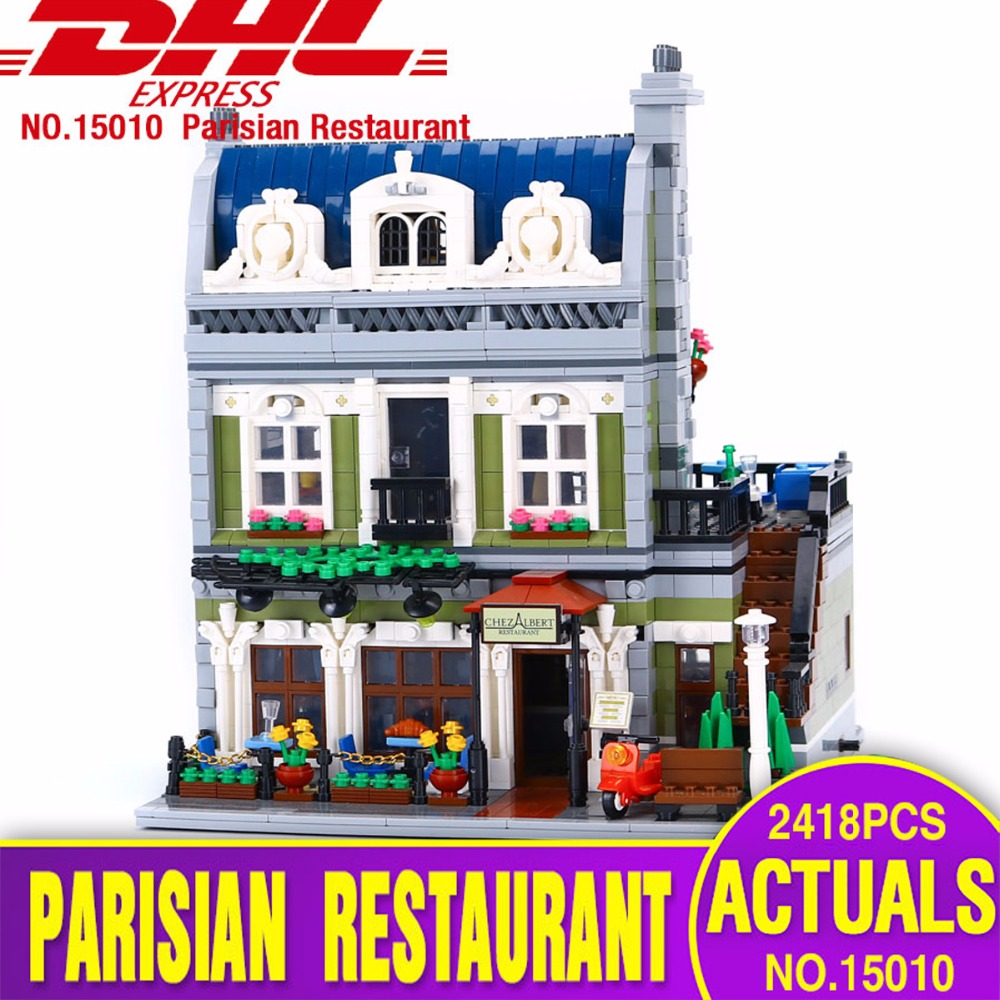 DHL Lepin 15010 Expert City Street Parisian Restaurant Model Building Kits Blocks Toy Compatible 10243 dhl lepin 15012 2518 pcs city expert ferris wheel model building kits blocks bricks toys compatible with legoingly 10247