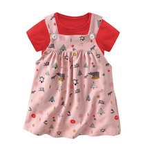 HI&JUBER Baby Dresses Girls Cotton Short Sleeved T-shirt With Printed Slip Dress Children