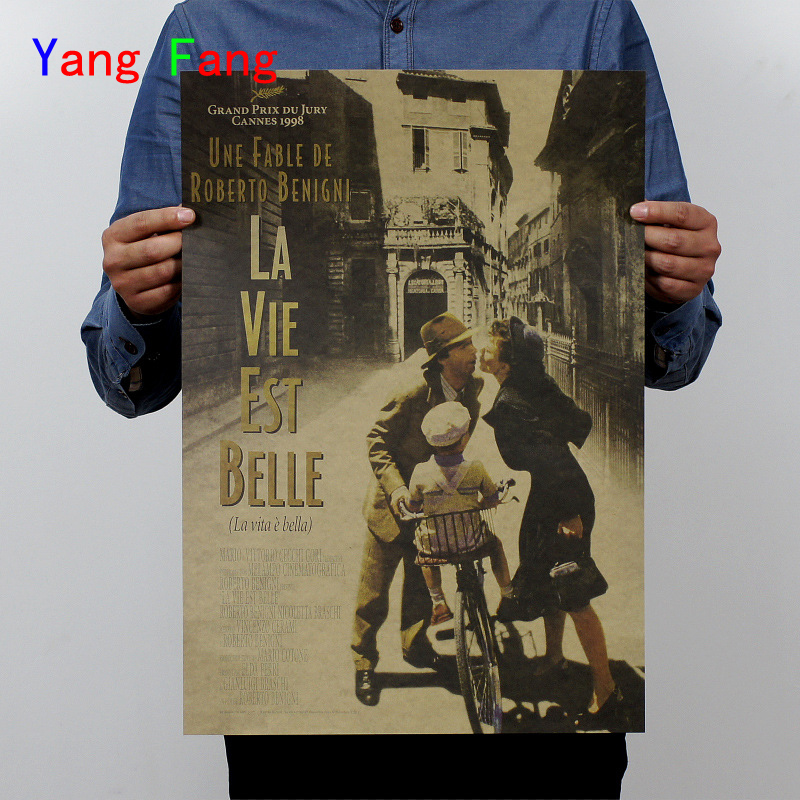 02a8ee1fc07e Movie Poster Beautiful Life Vintage Kraft Paper Drawing Core Home  Decoration Wallpaper Mural Picture Comic Wall Sticker 51x35cm