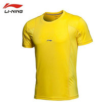 Li Ning original tennis outdoor T shirt for men summer sport shirt plus size yellow quick dry tops running clothing  ATSH125