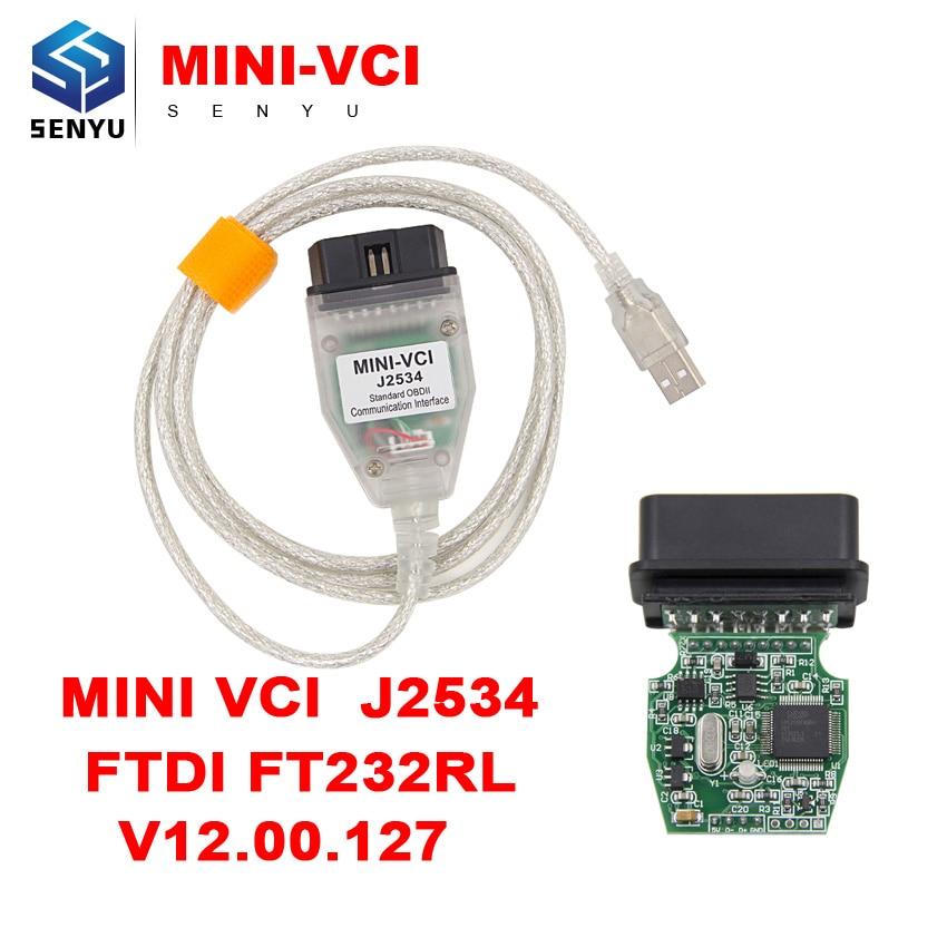 Prix pour MINI VCI J2534 V12.00.127 POUR TOYOTA OBD2 câble de diagnostic TIS Techstream minivci FT232RL Puce J2534 OBDII Outil De Diagnostic