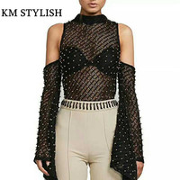 Australian Tide Brand 2018 Spring Fashion Sexy Shoulder Cutout Strapless Beaded Big Flare Long Sleeved Shirt
