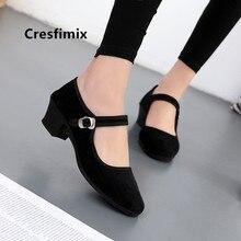 Cresfimix zapatos planos de mujer women cute black cloth dance shoes