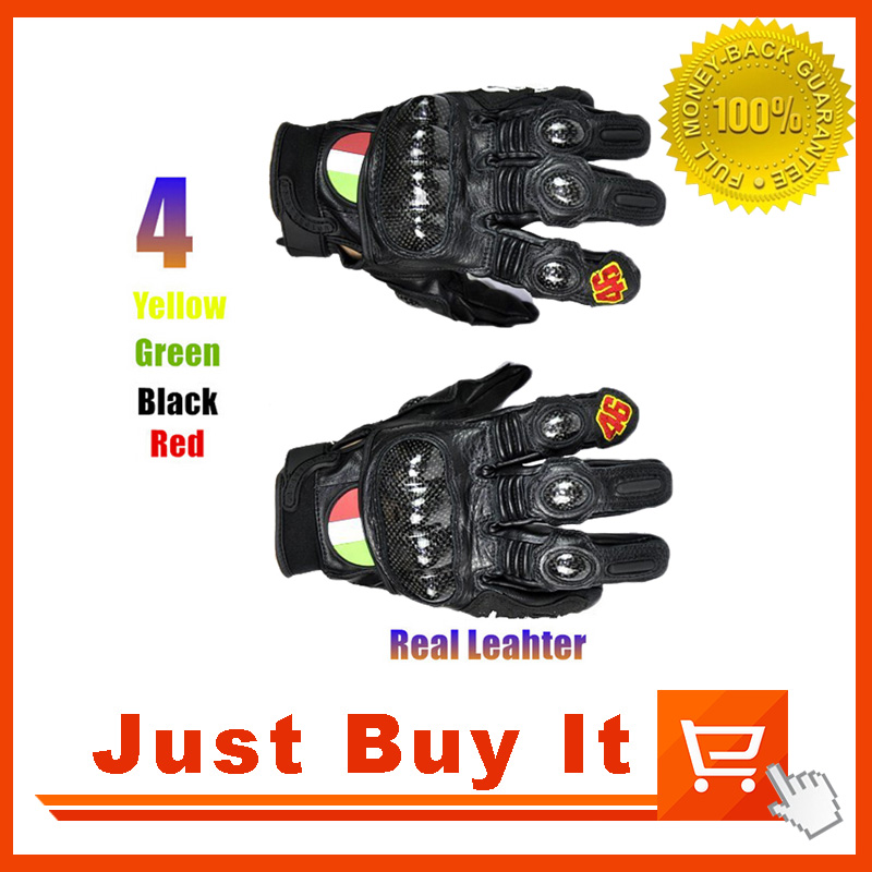 No.46 <font><b>Motorcycle</b></font> professional <font><b>racing</b></font> <font><b>Gloves</b></font> Real Leather <font><b>protective</b></font> Carbon Fiber Black <font><b>Red</b></font> <font><b>Size</b></font> M L <font><b>XL</b></font> Moto Motorbike <font><b>Gloves</b></font>