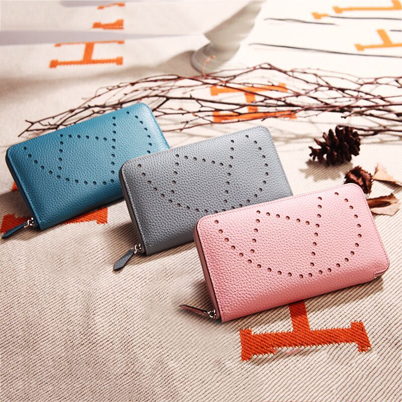 Y016 New Fashion leather wallet lychee grain cowhide Leather Day Clutches Classic handbag male and female Leather Wallet european and american 2017 new lychee grain 100