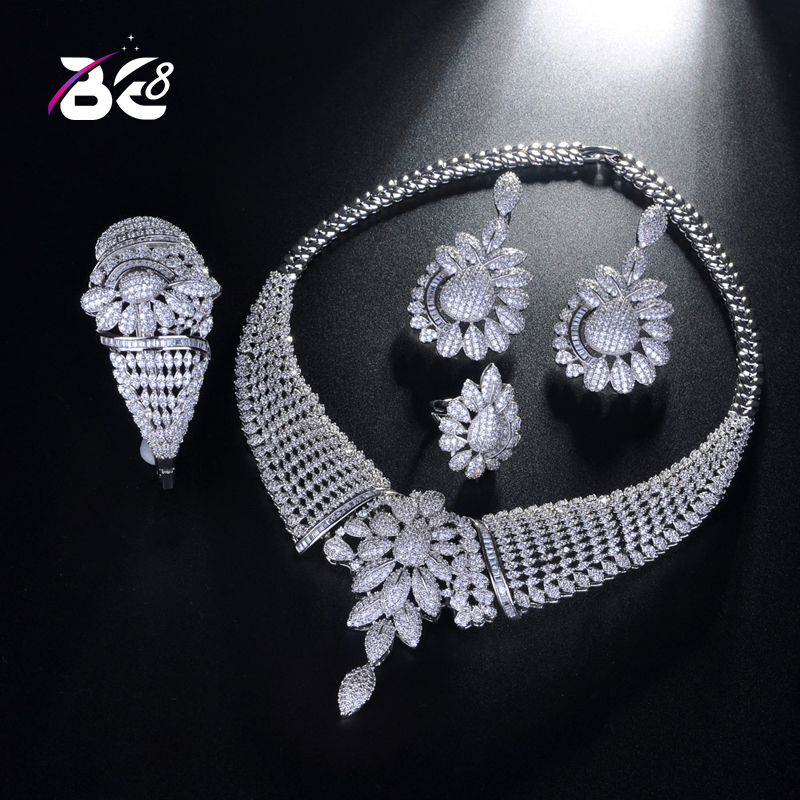 Be 8 Newest Luxury Bridal AAA CZ Jewelry set Nigerian Wedding Accessorie Big African Cubic Zirconia White-color Jewelry Set S198Be 8 Newest Luxury Bridal AAA CZ Jewelry set Nigerian Wedding Accessorie Big African Cubic Zirconia White-color Jewelry Set S198