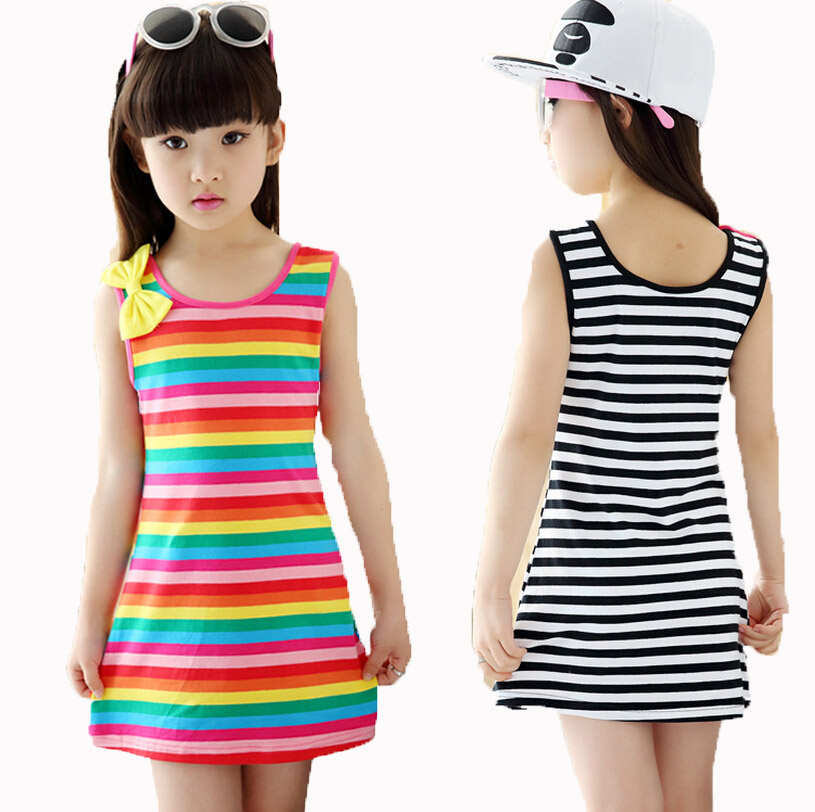 2-14Y girls 12 years summer clothes Cotton Casual Children Clothing Sleeveless Striped Baby Clothes For Girl kids dress dresses