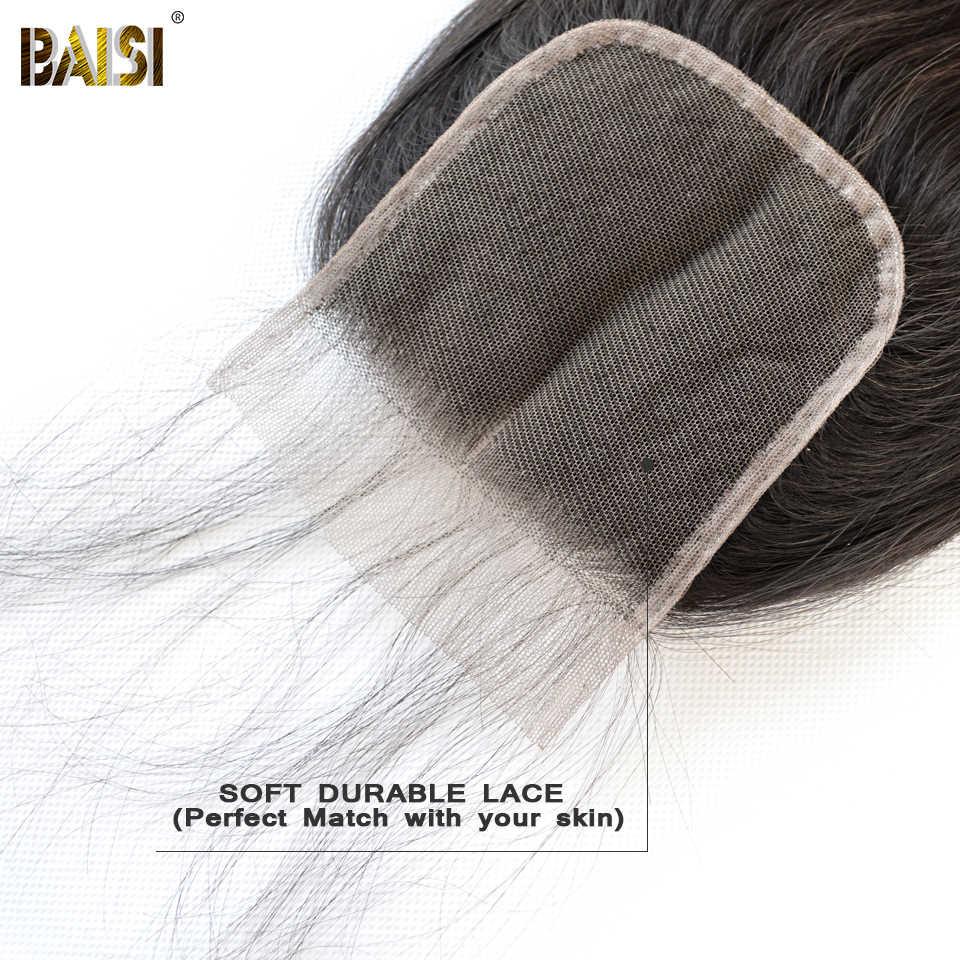 Cabello BAISI peruano recto suizo Cierre de encaje 4x4 parte media parte libre tres Partes 100% cabello humano