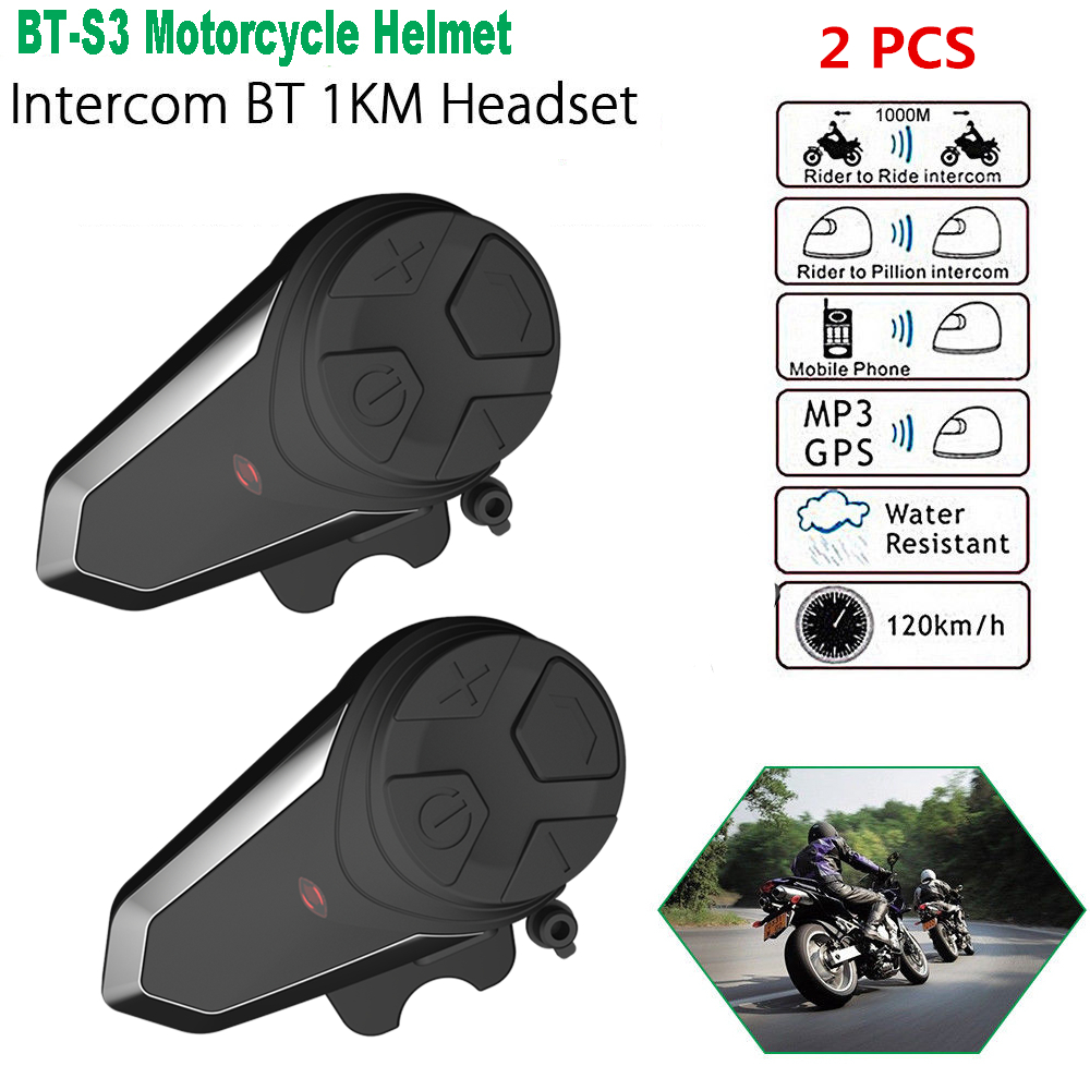 2pcs BT-S3 Intercom Bluetooth Earphone Wireless Moto Helmet Headset Waterproof Interphone Intercomunicador Headphone With MIC FM2pcs BT-S3 Intercom Bluetooth Earphone Wireless Moto Helmet Headset Waterproof Interphone Intercomunicador Headphone With MIC FM
