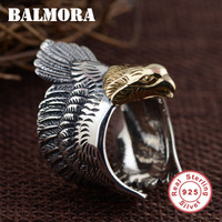 BALMORA Retro Animal Ring 100 Real 925 Sterling Silver Jewelry Eagle Opening Rings For Women Men