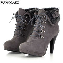 VAMOLASC New Women Autumn Winter Warm Faux Suede Ankle Boots Lace Up Thin High Heel Snow Boots Fur Women Shoes Plus Size 34-43