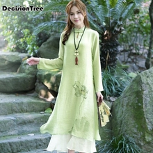 2017 summer ethnic chinese style hand painted cotton cheongsam improved pankou casual vintage dresses female clothes