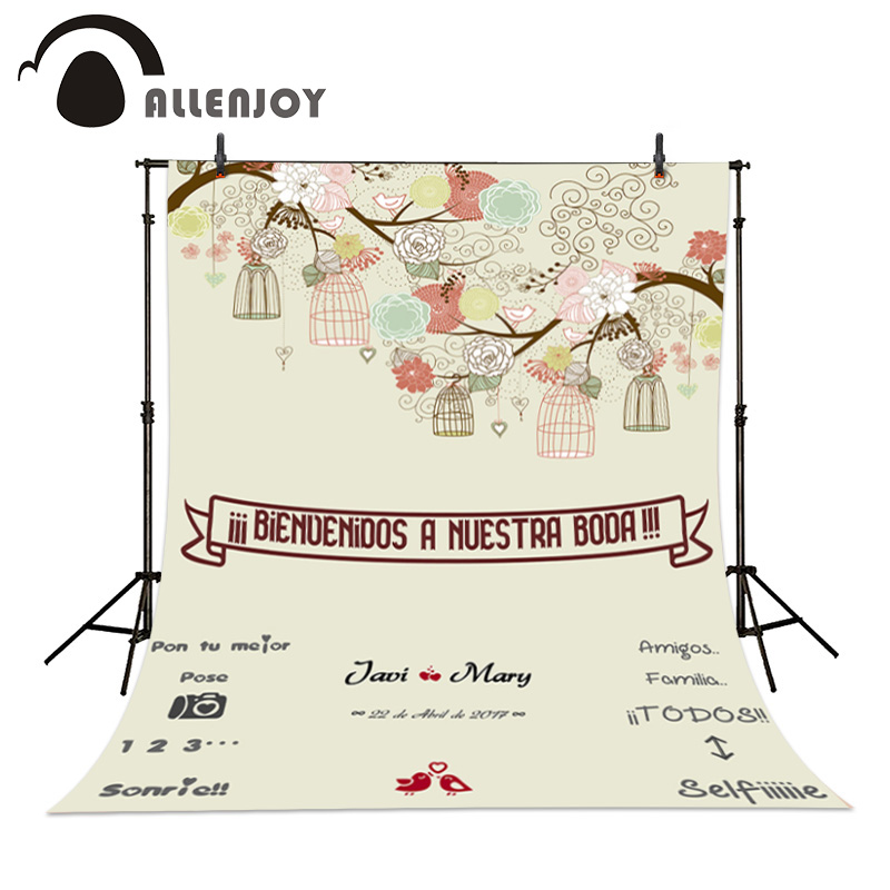 Allenjoy DIY Wedding Background Custom wedding background, bird photography romantic backdrops allenjoy diy wedding photography background romantic love wood board custom name date phrase backdrop photocall