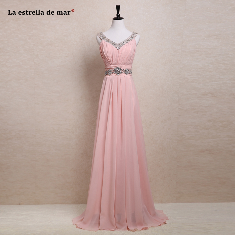 Vestidos para bodas invitados new chiffon sexy V-neck crystal a Line pink red royal blue   bridesmaid     dress   long real photo