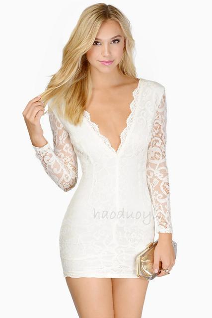 f395753e0 Vestido de renda manga longa, sexy vestido de renda branco curto branco  preto vermelho ver