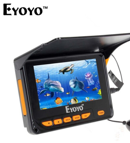 Eyoyo Original Underwater Ice Fish Finder 20M HD 1000TVL IR LED 150 Degrees Angle Fishing Camera Video Echo Sounder For Fishing grey two side pockets long sleeves outerwear