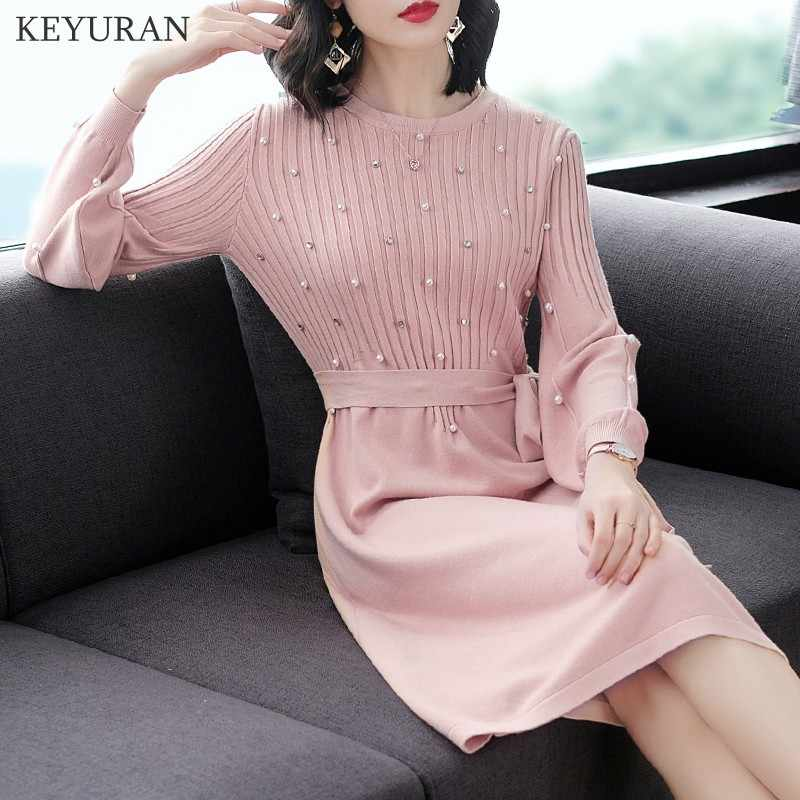 59ea10c824 ... 2019 Autumn New Lantern Long Sleeve Stretch Knitted Dress Bow Tie Up  Pearl Beading Drill Elegant ...