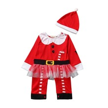 2pcs Baby Girls Santa Cluas Romper and Hat Cute Christmas Clothes Set