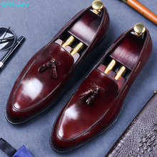 British Style Pointed Toe Tassel Man Formal Dress Shoes Genuine Leather Oxfords Slip On Men Breathable Business Shoes christia bella men pointed toe genuine leather slip on british formal dress shoes vogue summer slippers oxfords plus size 38 47