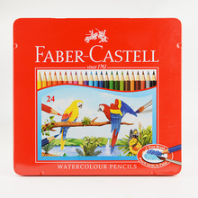 Faber Castell Water Soluble Colored Pencils Iron Box 24 Watercolors for Sketch Coloring Kids Adults Art