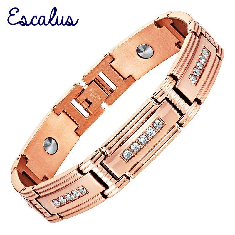 Escalus Crystal High Pure 7Pcs Germanium Women Bracelet Rose Gold Color Health Energy Men Steel Charm Bracelet Bangle Wristband цена