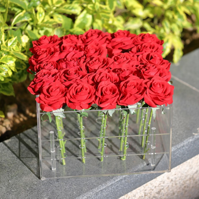 Valentine 39 s Day Rose Flower Storage Box Transparent Acrylic Flower Box Paper Packaging Carton Plus Foam Label Gift Box For Girls in Storage Boxes amp Bins from Home amp Garden