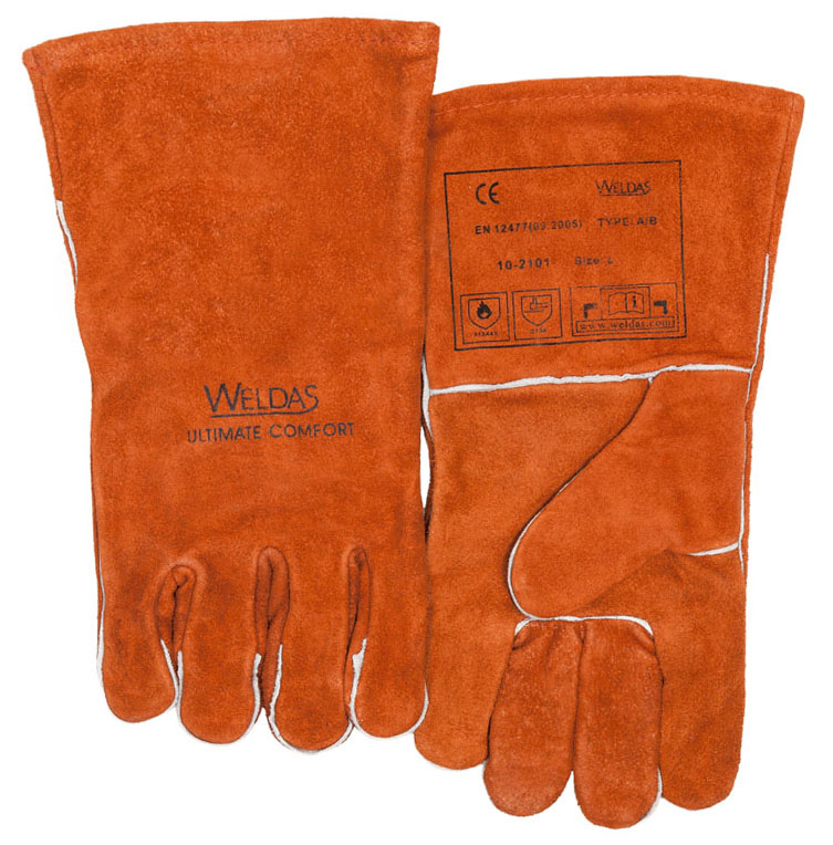 Work Gloves Welder Heat Resistant Leather Oven BBQ Glove TIG MIG Cow Leather Welding Gloves цена