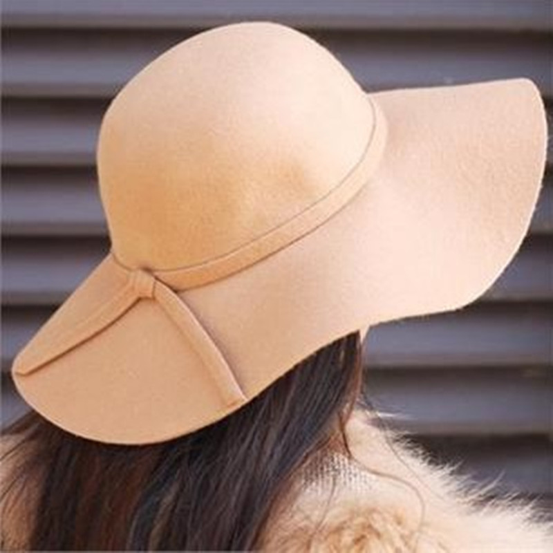 558e5adc2a349 ... Vintage Wide Brim Wool Felt Bowler Fedora Hat Floppy Cloche Women s Large  Hat Cap. 41% Off. 🔍 Previous. Next