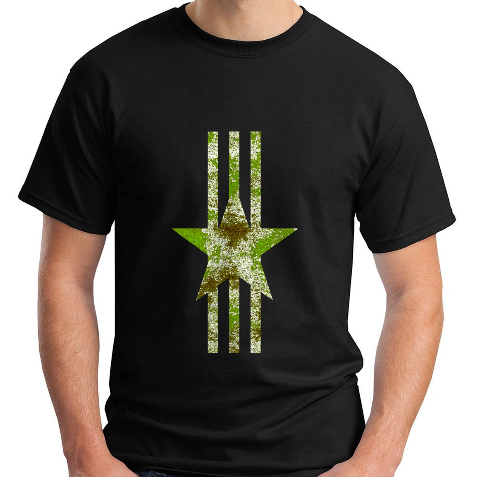 New Military Green Camo Star Logo White Stripes Conservative Mens Black T-Shirt