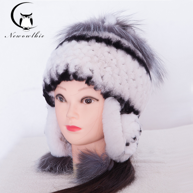 Women's Hat Winter Rex Rabbit Fur Hat Ear Protector Caps Knitted Russian Bomer Quality Fashion Fur Hats For 2017 New Years