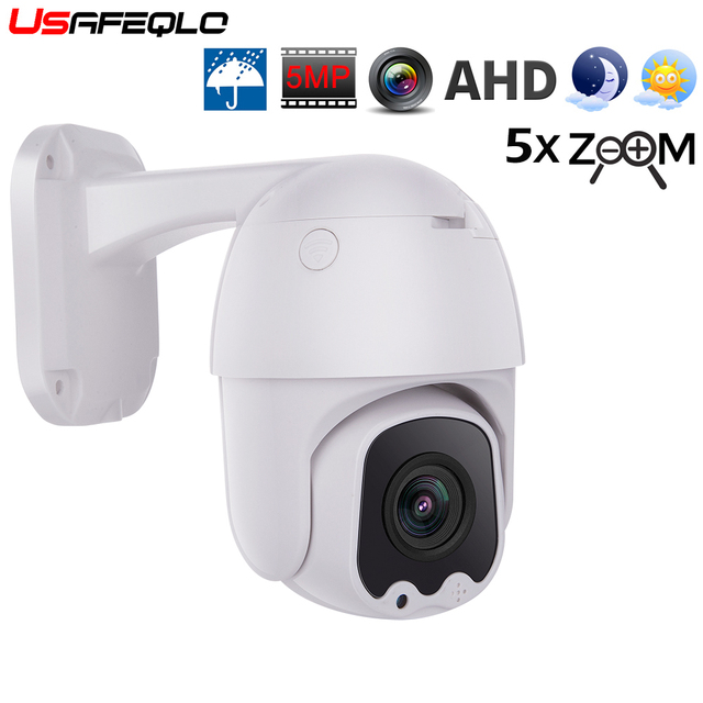 USAFEQLO AHD5MP 5X MINI PTZ Dome Camera 5MP 5X AHD Camera 30M IR Outdoor CCTV Camera Support RS485 Coaxial Control function