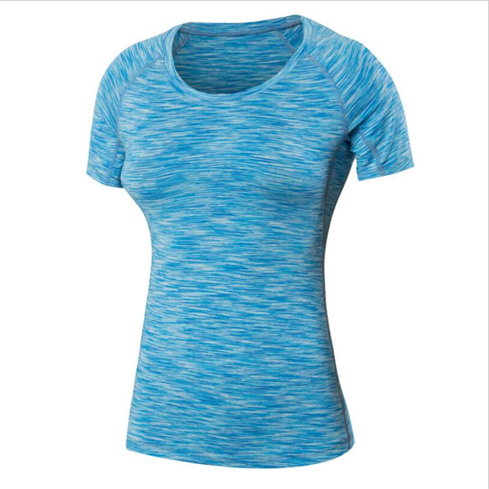 Women Fitness Trainning Shirts Yoga Exercise T-shirts Flexible Quick Dry Sportswear Breathable Sweat Absorption Gym Tight Shirt