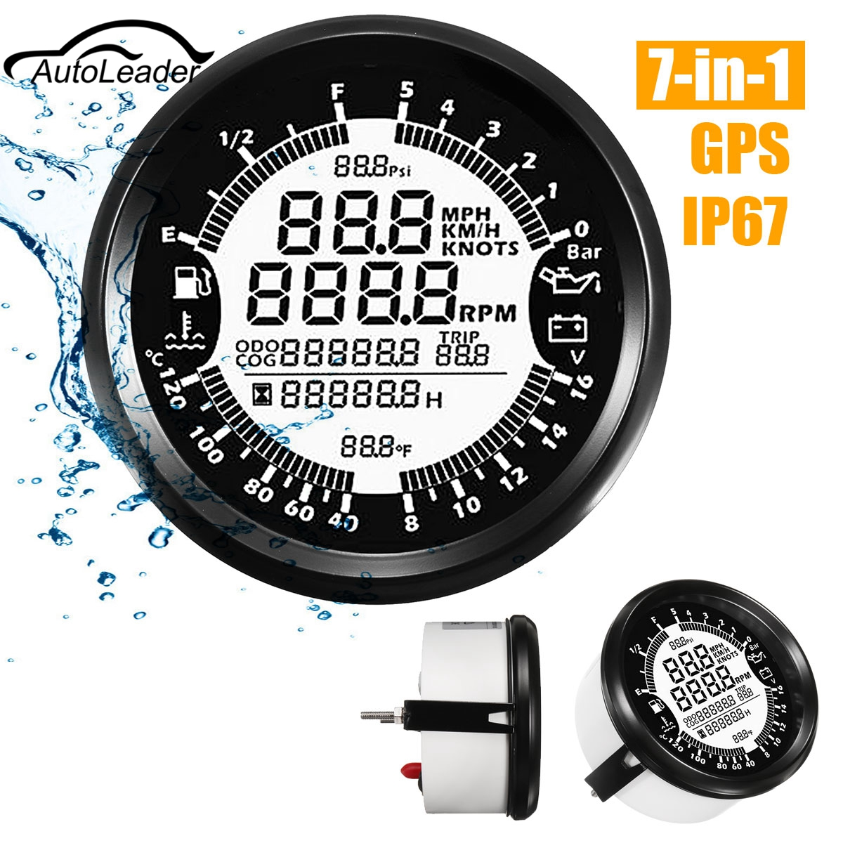 Autoleader 7-in-Impermeabile Tachimetro GPS Manometro Dell'olio Carburante Gauge Contagiri 85mm