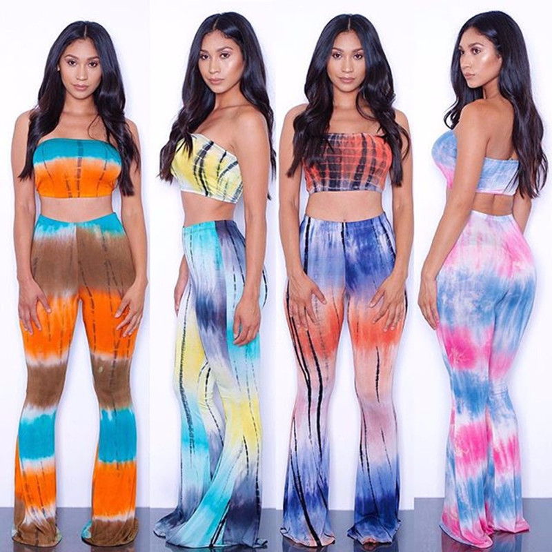 2016 Summer Plus Size 2 Piece Set Women Tie Dye Flare Pants Set Bandage Sleeveless Crop Top+Wide Leg Pants Women Clothing Set