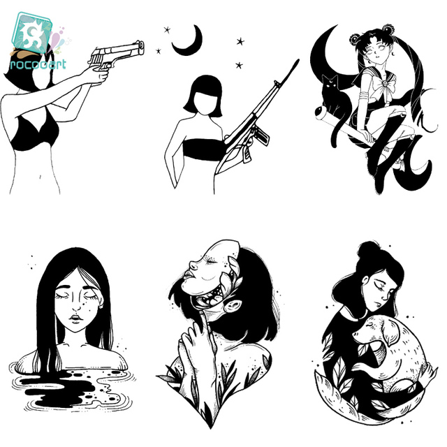 Rocooart CC6 6X6cm Little Vintage Old School Style Gun Girls Women Black White Face Temporary Tattoo Sticker Body Art Fake Taty