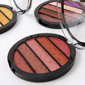 Miss Rose 5 colors eyeshaow palette earth color shimmer smoky eye shadow palette Glitter Pigment Round Shape palette MS006