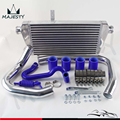 FRONT MOUNT INTERCOOLER kit aluminum piping for 96-01 VW PASSAT AUDI A4 B5 1.8T BLUE